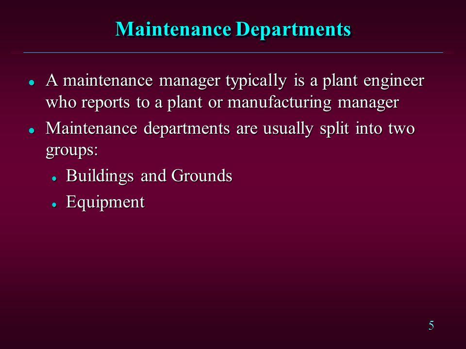 Maintenance Departments