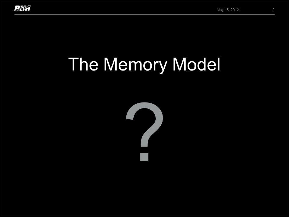 May 15, 2012 The Memory Model