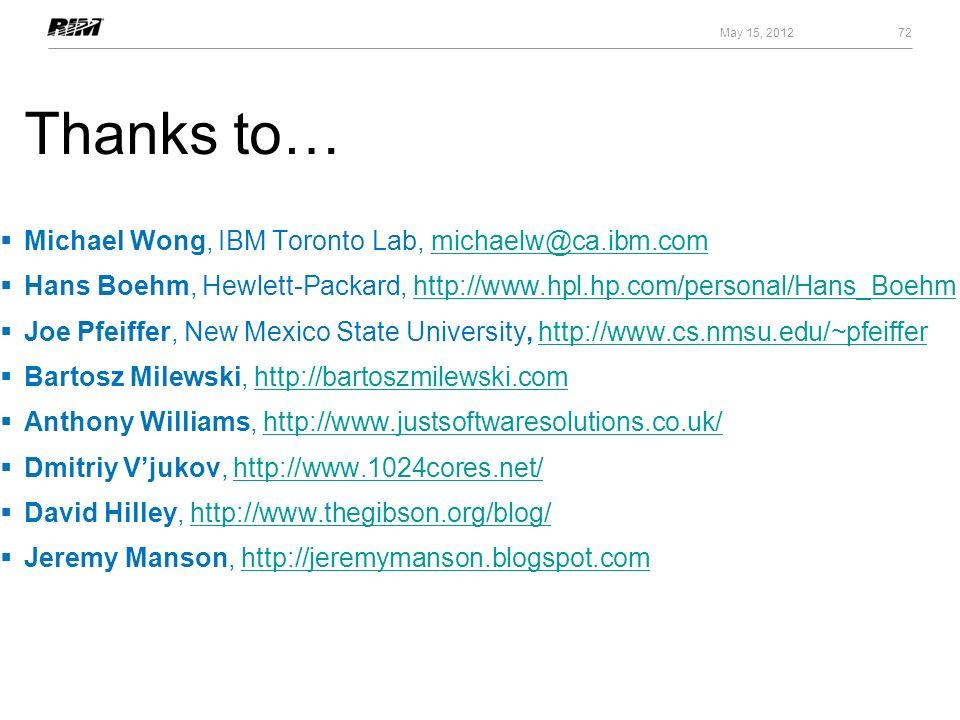 Thanks to… Michael Wong, IBM Toronto Lab, michaelw@ca.ibm.com