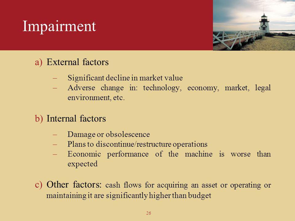 Impairment External factors Internal factors