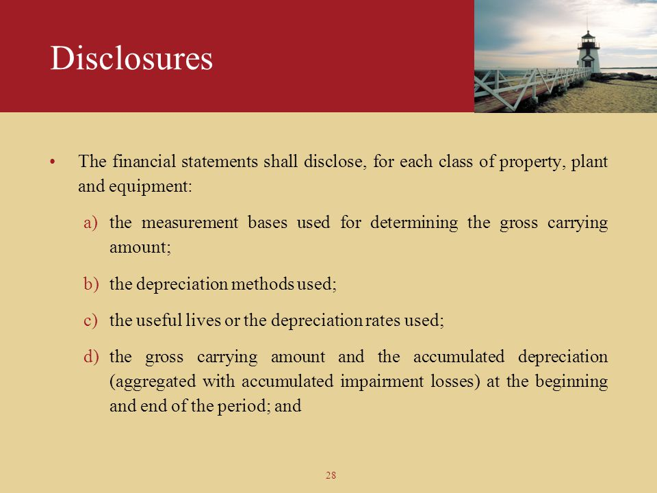 Disclosures The financial statements shall disclose, for each class of property, plant and equipment: