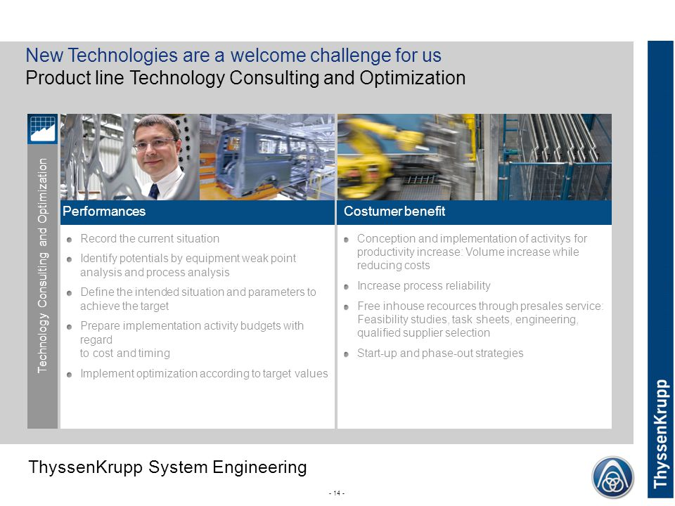 New Technologies are a welcome challenge for us Product line Technology Consulting and Optimization