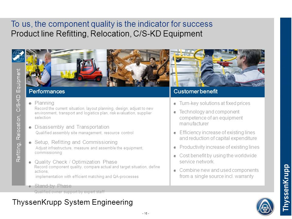 To us, the component quality is the indicator for success