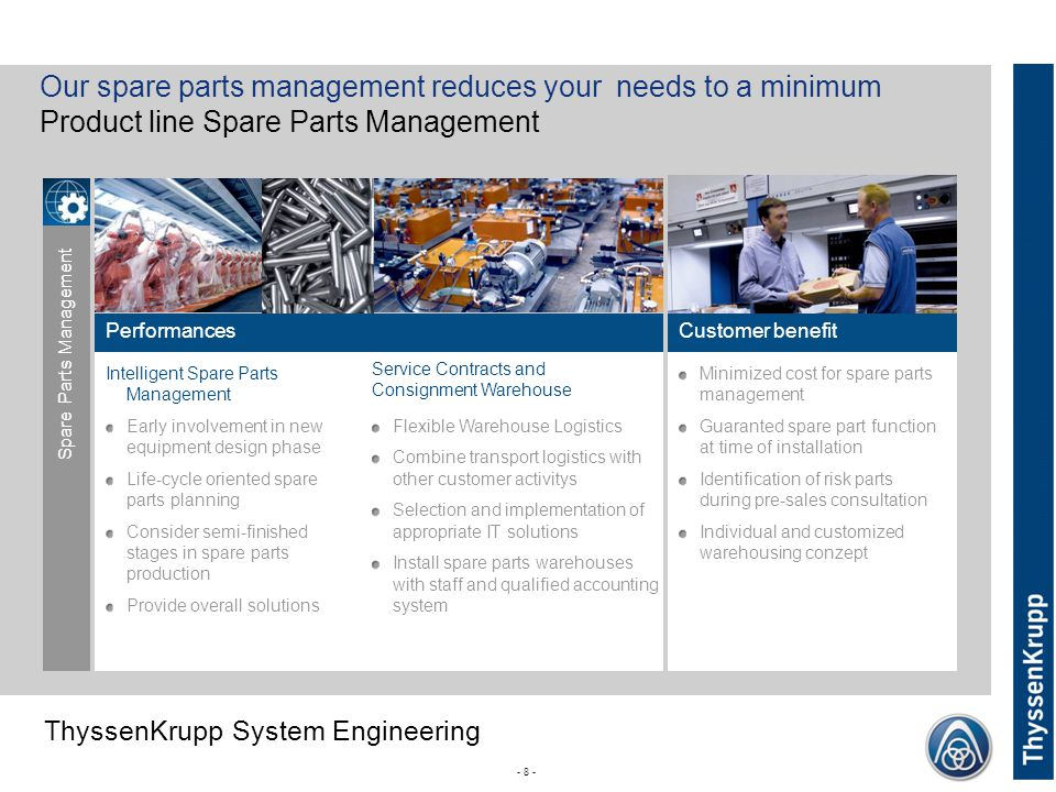 Our spare parts management reduces your needs to a minimum
