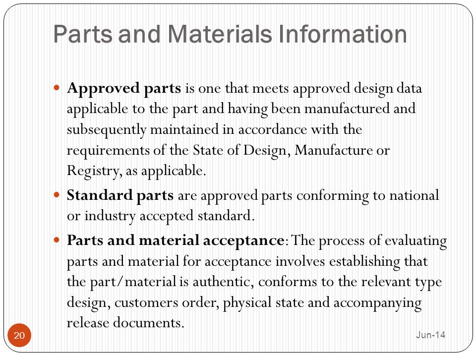 Parts and Materials Information