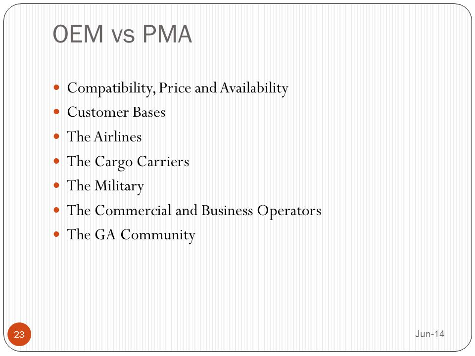 OEM vs PMA Compatibility, Price and Availability Customer Bases