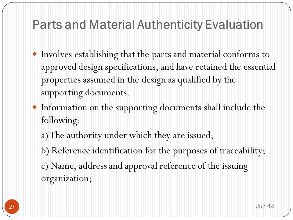 Parts and Material Authenticity Evaluation