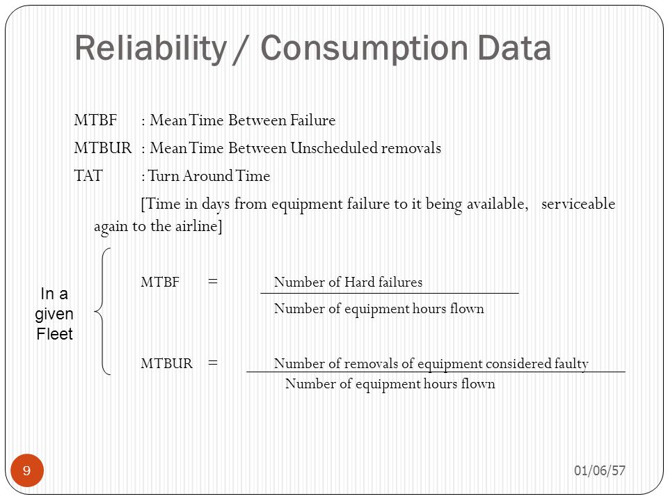 Reliability / Consumption Data