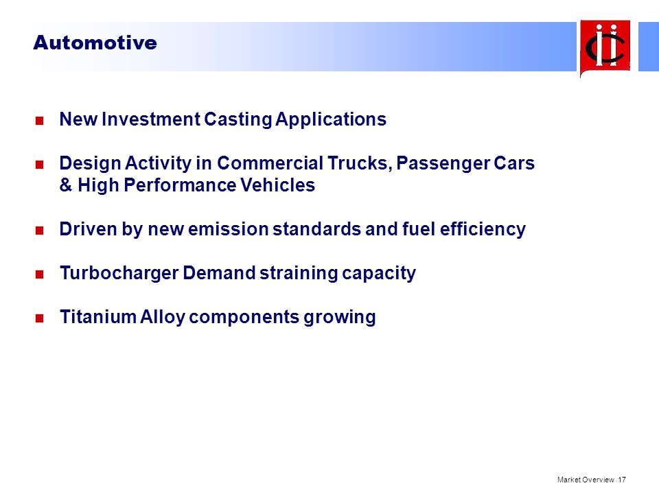 Automotive New Investment Casting Applications