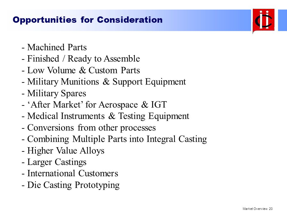Opportunities for Consideration