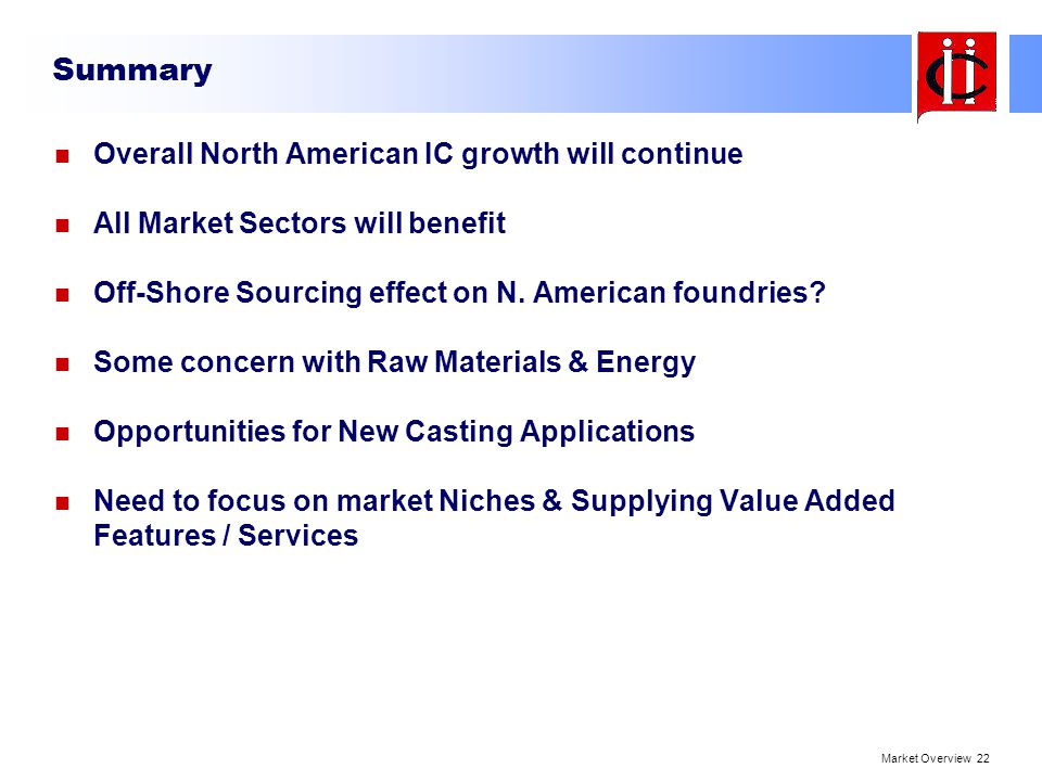 Summary Overall North American IC growth will continue