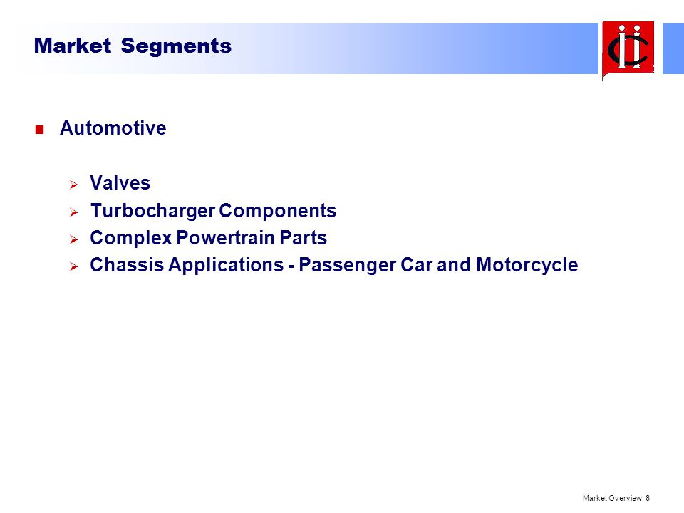 Market Segments Automotive Valves Turbocharger Components