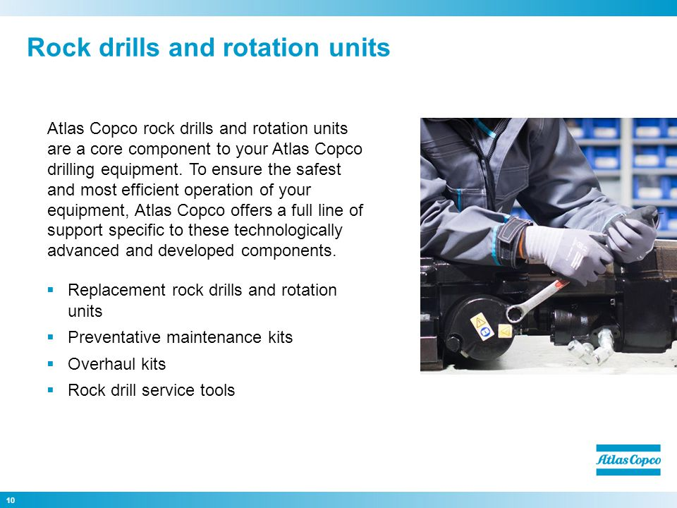 Rock drills and rotation units