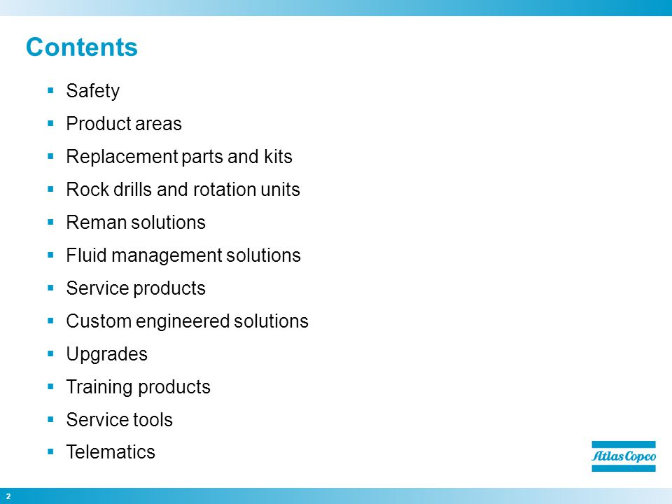 Contents Safety Product areas Replacement parts and kits