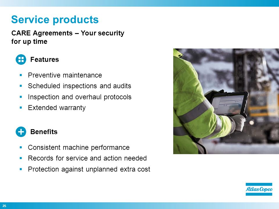 Service products CARE Agreements – Your security for up time Features