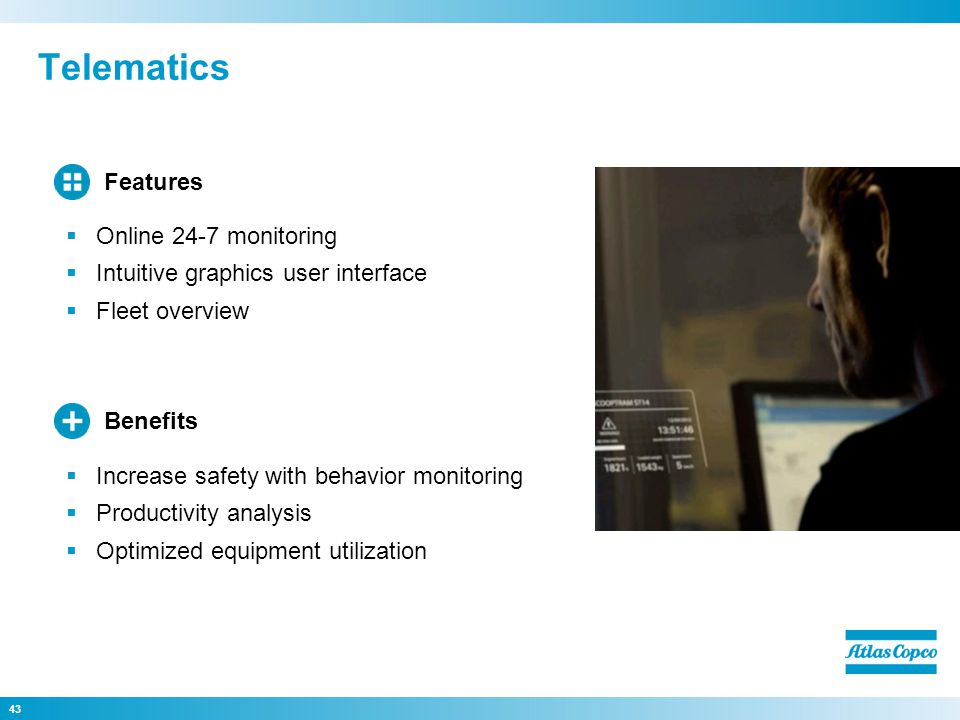 Telematics Features Online 24-7 monitoring