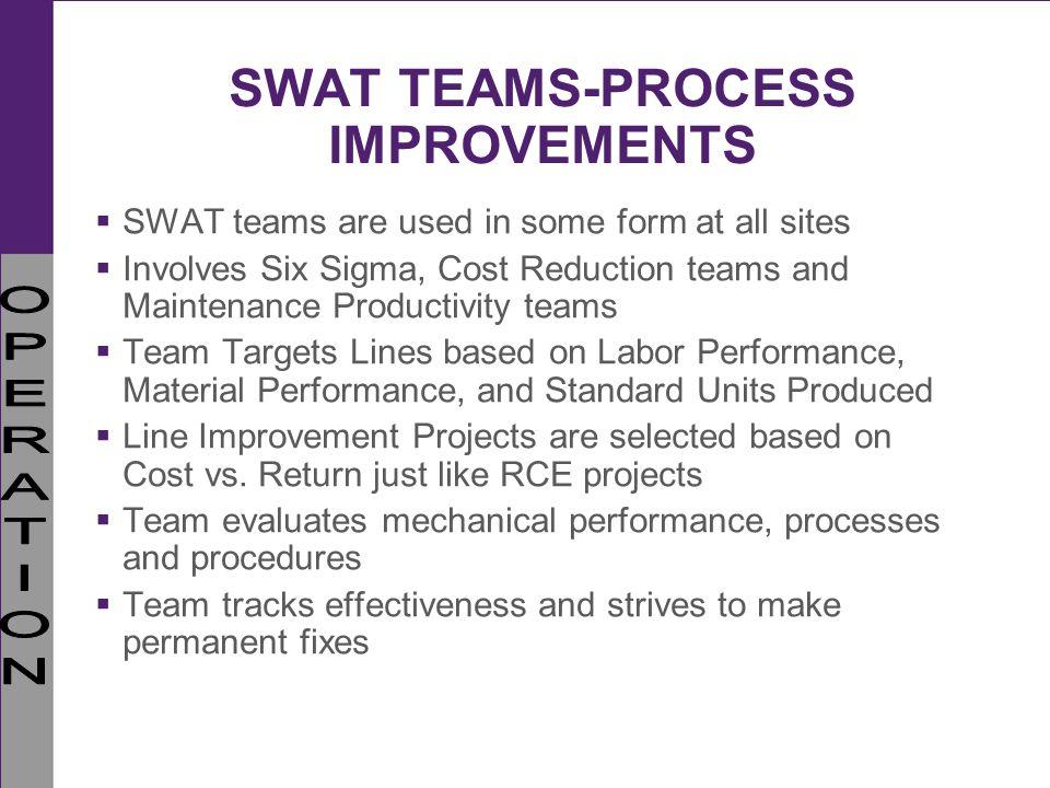 SWAT TEAMS-PROCESS IMPROVEMENTS