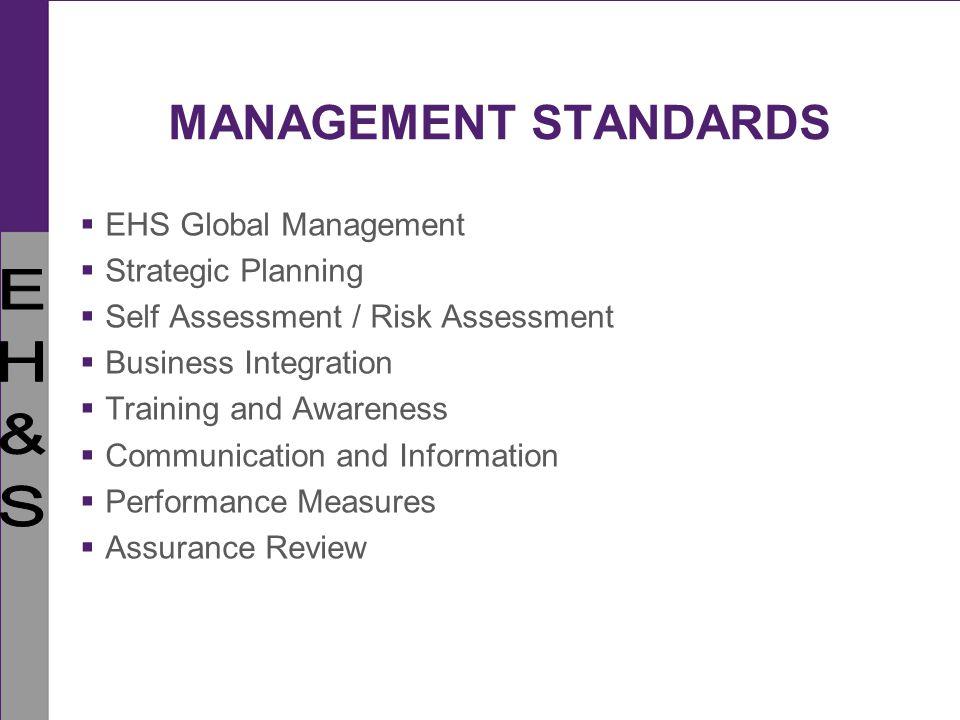 MANAGEMENT STANDARDS EHS Global Management Strategic Planning