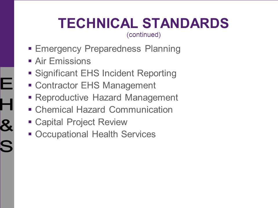 TECHNICAL STANDARDS (continued)
