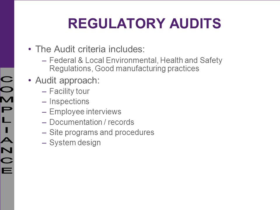 REGULATORY AUDITS The Audit criteria includes: Audit approach: