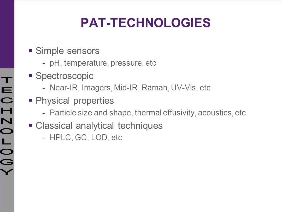 PAT-TECHNOLOGIES Simple sensors Spectroscopic Physical properties