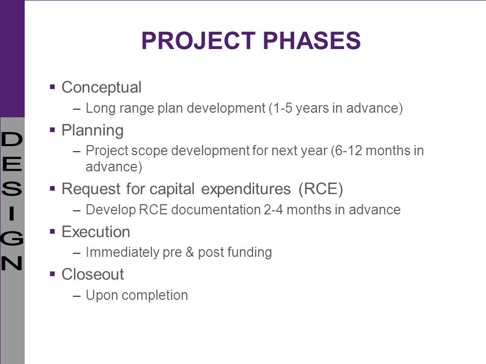 PROJECT PHASES Conceptual Planning