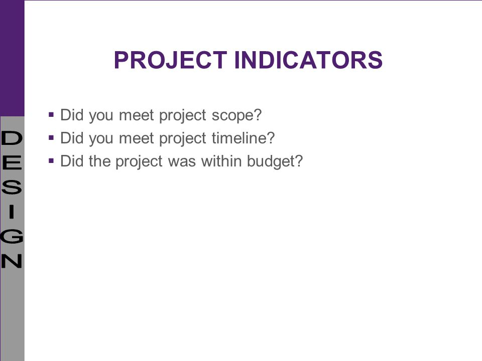 PROJECT INDICATORS Did you meet project scope