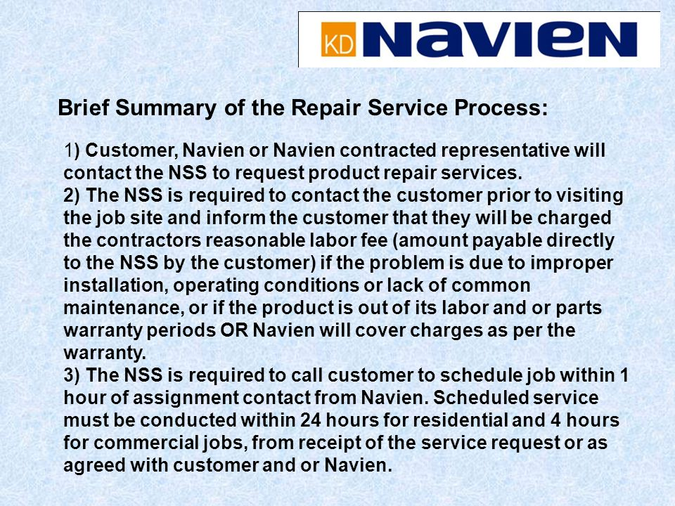 Brief Summary of the Repair Service Process: