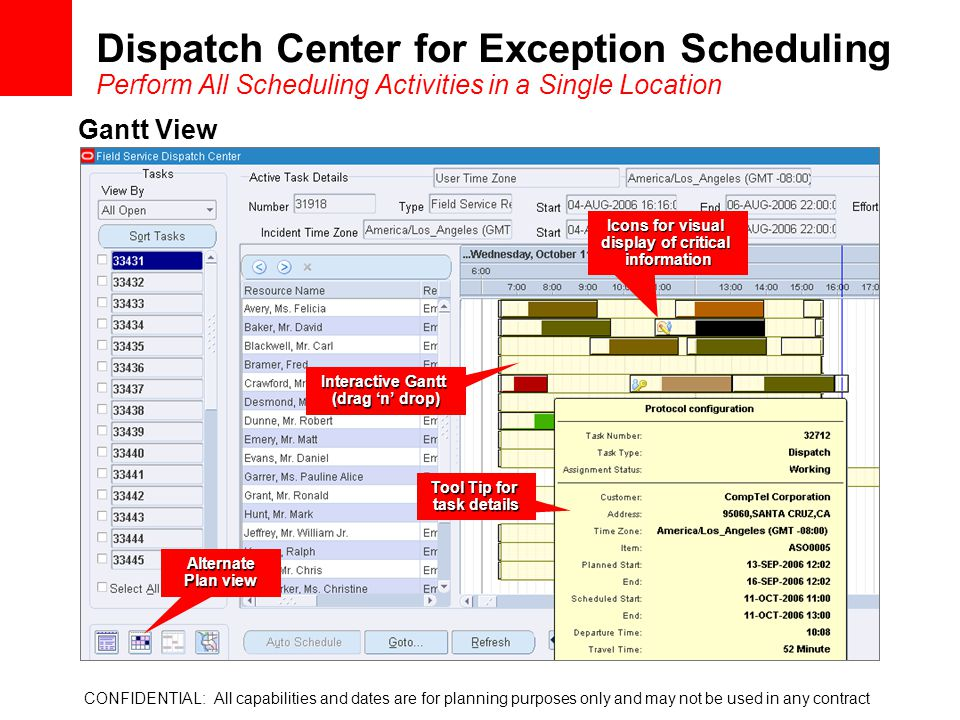 Dispatch Center for Exception Scheduling Perform All Scheduling Activities in a Single Location