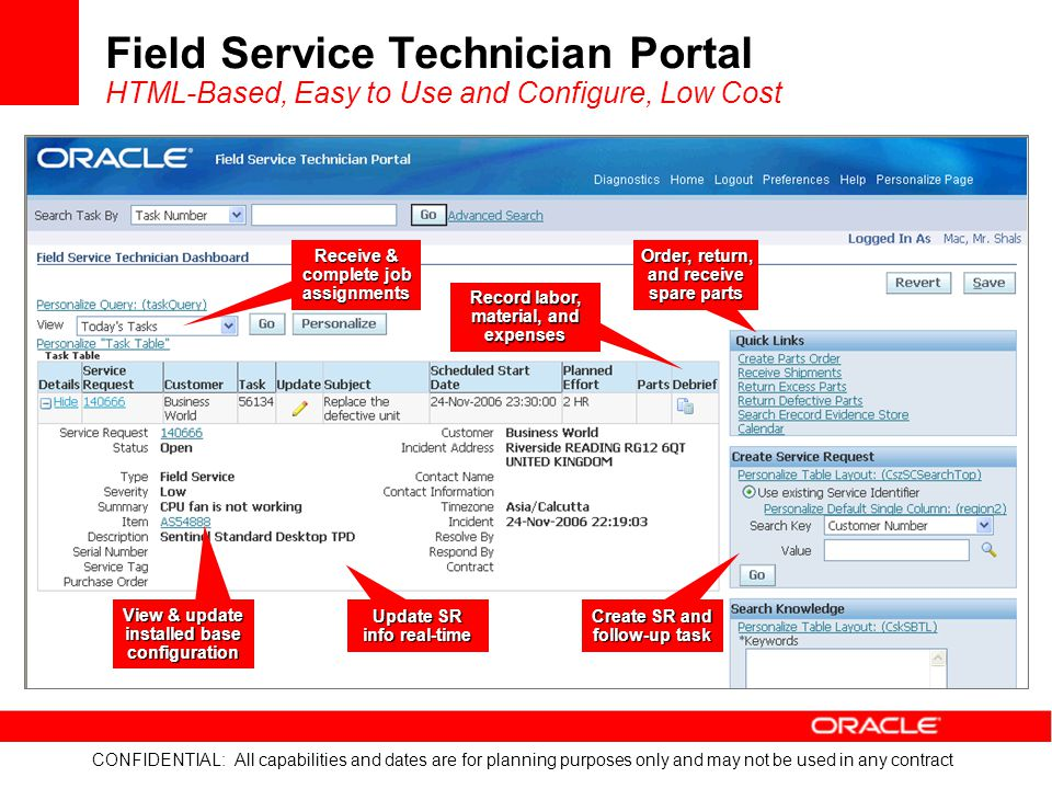 Field Service Technician Portal HTML-Based, Easy to Use and Configure, Low Cost