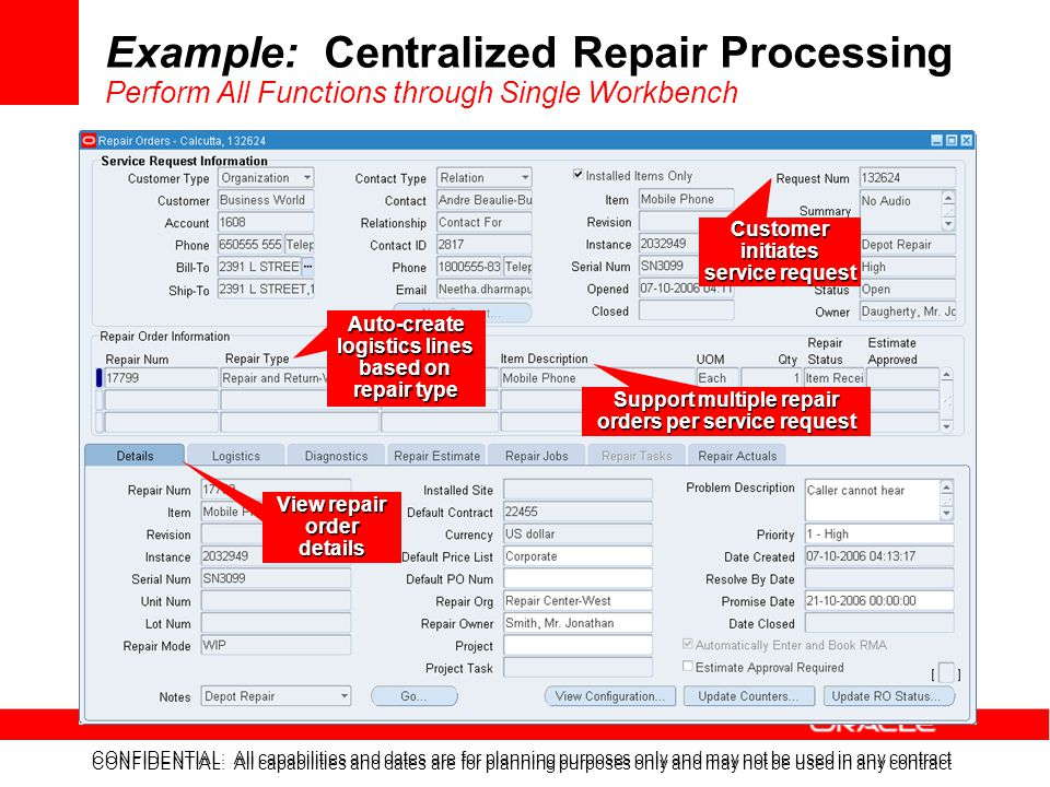 Example: Centralized Repair Processing Perform All Functions through Single Workbench