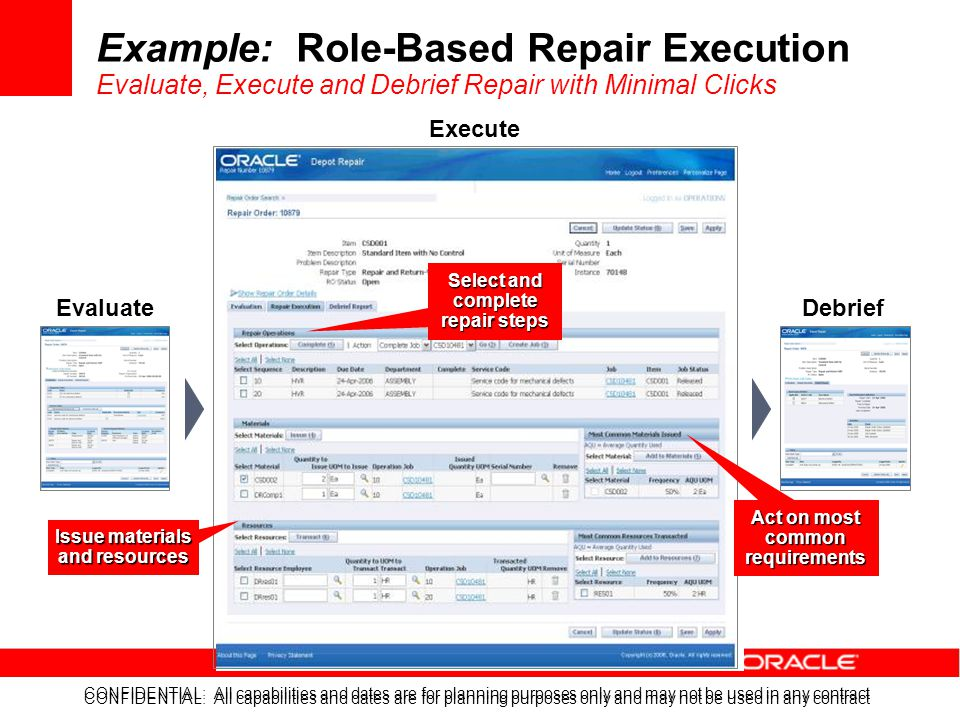 Example: Role-Based Repair Execution Evaluate, Execute and Debrief Repair with Minimal Clicks