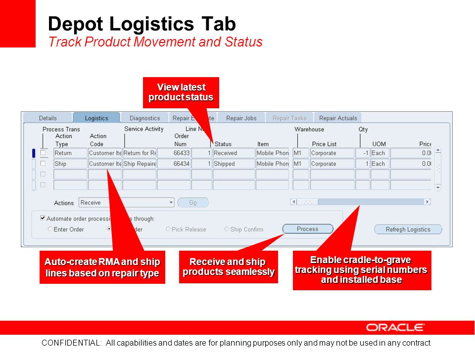 Depot Logistics Tab Track Product Movement and Status