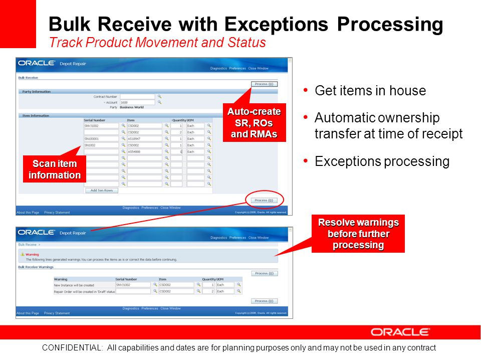 Bulk Receive with Exceptions Processing Track Product Movement and Status