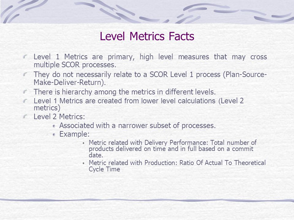 Level Metrics Facts Level 1 Metrics are primary, high level measures that may cross multiple SCOR processes.
