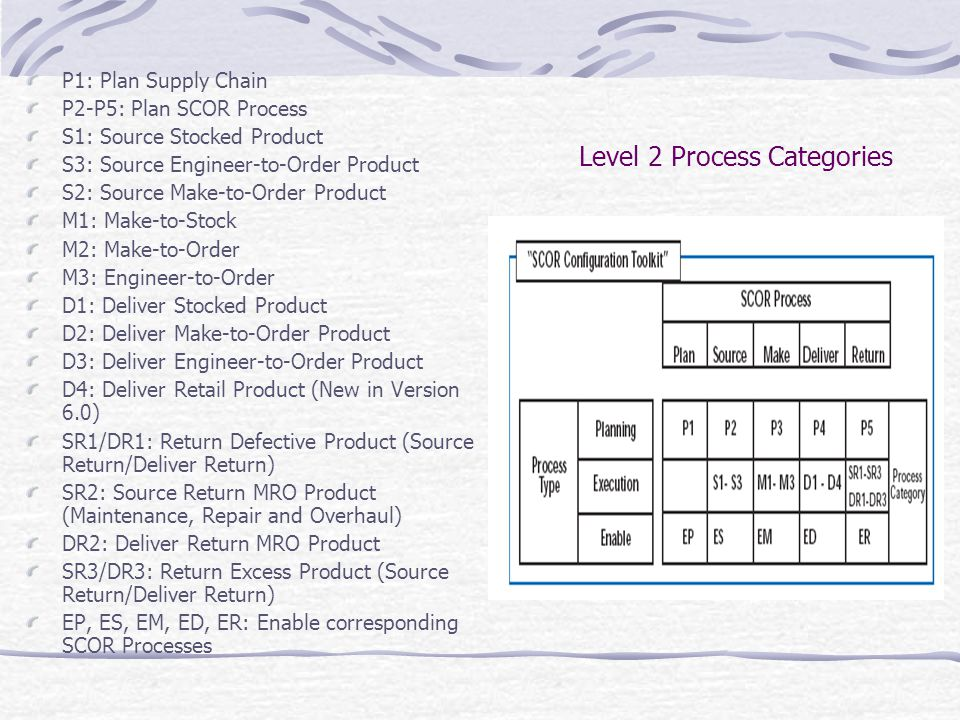 Level 2 Process Categories