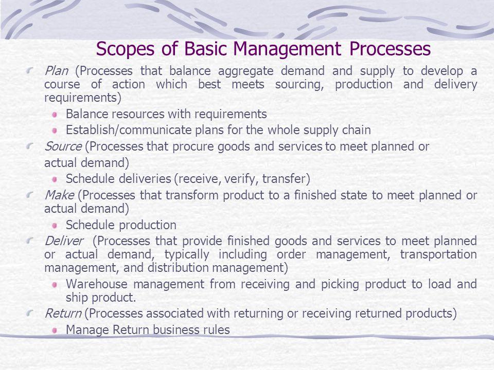 Scopes of Basic Management Processes