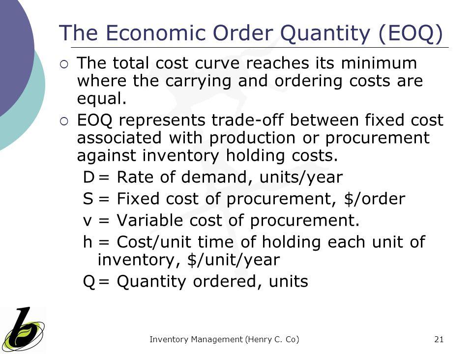 The Economic Order Quantity (EOQ)