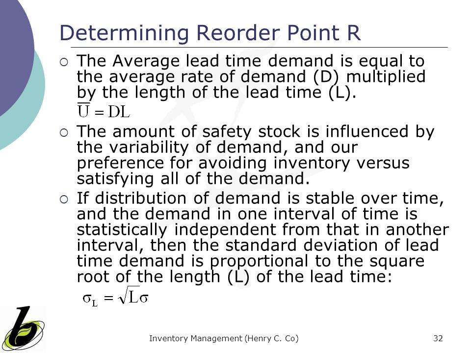 Determining Reorder Point R