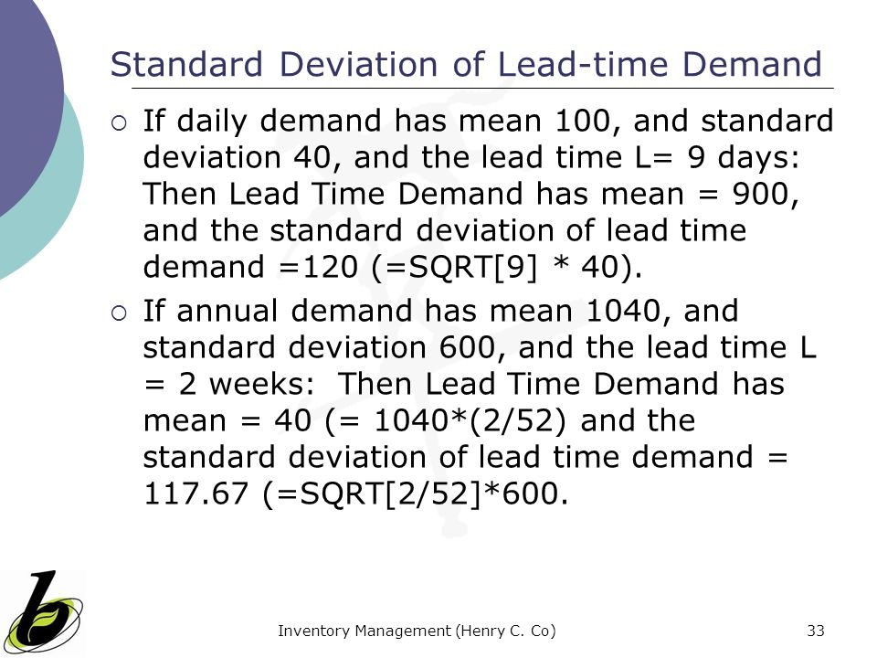 Standard Deviation of Lead-time Demand