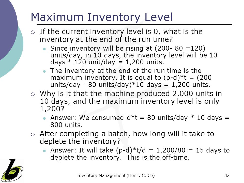 Maximum Inventory Level