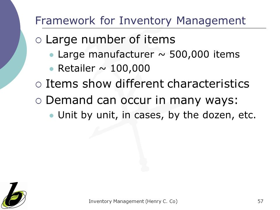 Framework for Inventory Management