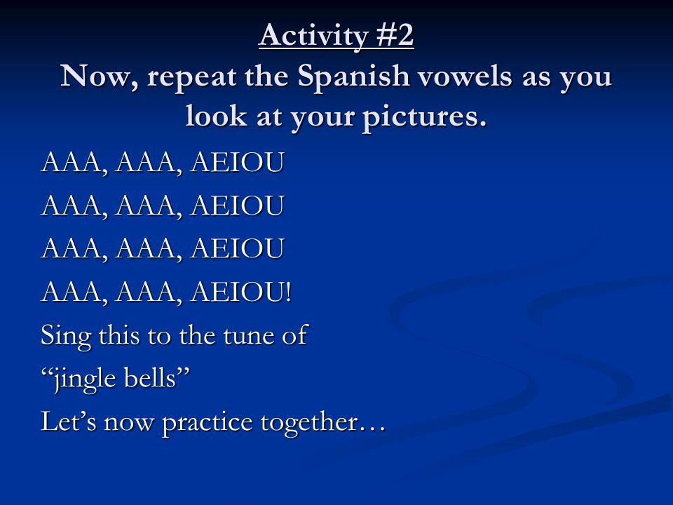 Activity #2 Now, repeat the Spanish vowels as you look at your pictures.