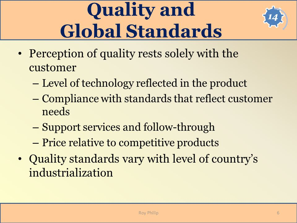 Quality and Global Standards