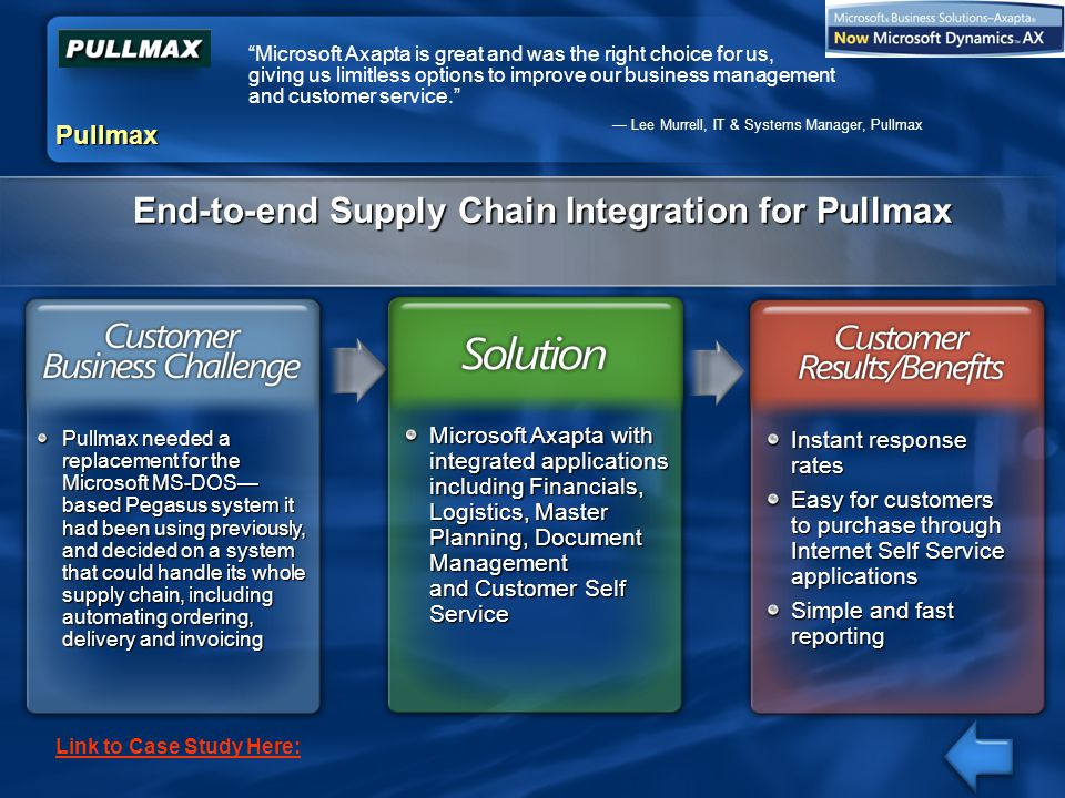 End-to-end Supply Chain Integration for Pullmax