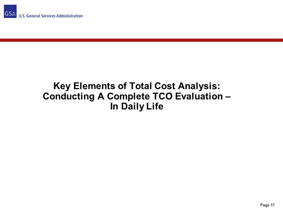 TOTAL COST OF OPERATIONS (TCO) EVALUATION