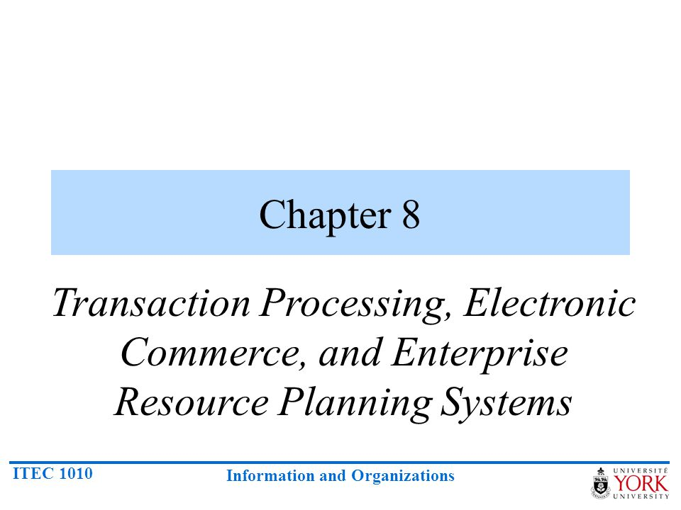 Chapter 8 Transaction Processing, Electronic Commerce, and Enterprise Resource Planning Systems