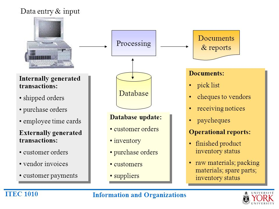 Data entry & input Documents & reports Processing Database Documents:
