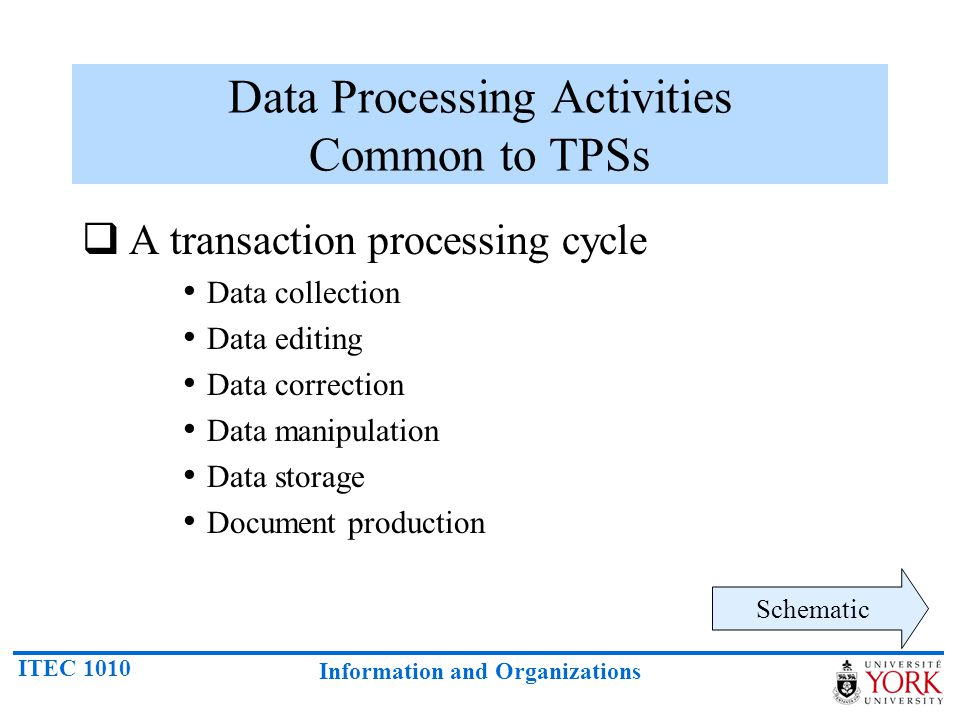 Data Processing Activities Common to TPSs