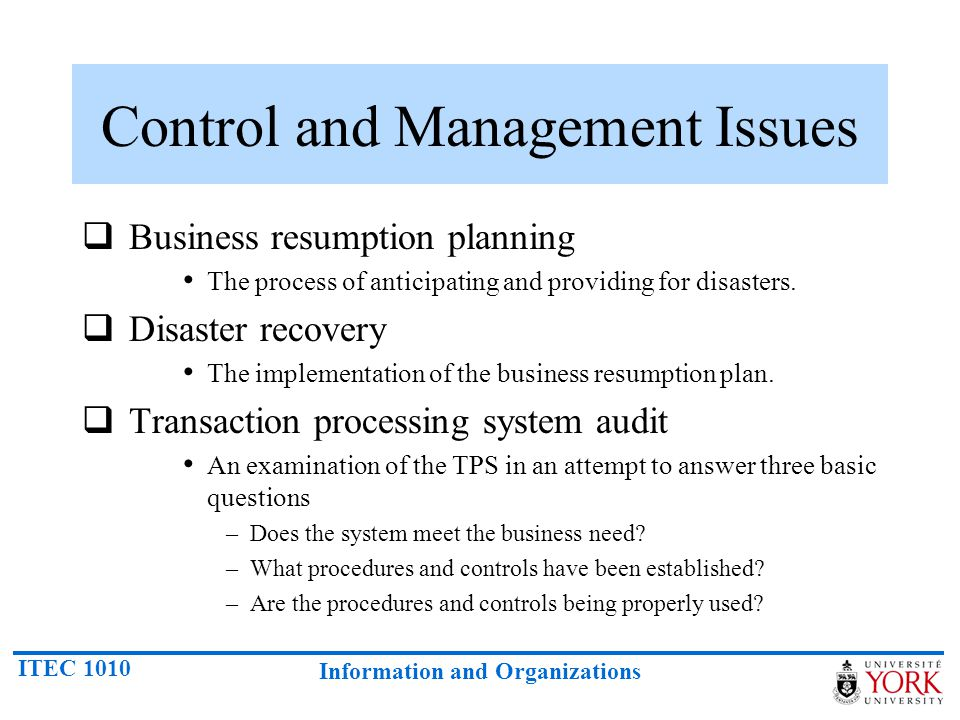 Control and Management Issues